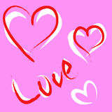 Doodle heart and love Royalty Free Stock Images