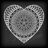 Doodle Heart Mandala Stock Images