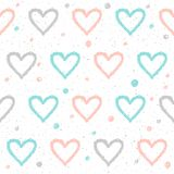 Doodle heart seamless background. Abstract childish blue, white. And pink heart pattern for design t-shirt, wedding card, bridal invitation, valentine`s day royalty free illustration