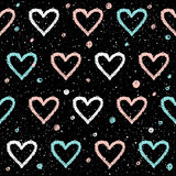 Doodle heart seamless background. Abstract childish blue, white vector illustration