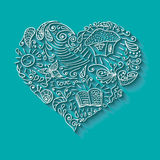 Doodle heart with shadow Royalty Free Stock Images