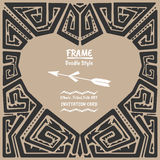 Doodle heart vector tribal ethnic style frame Royalty Free Stock Photography