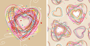 Doodle hearts Stock Images