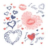 Doodle hearts, arrows and lips, valentines day. Hand drawn doodle hearts, arrows and lips on white background, happy valentines day, vector illustration royalty free illustration