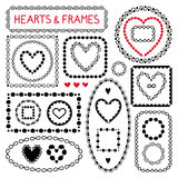 Doodle hearts and frames. Royalty Free Stock Photography