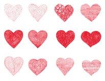 12 doodle hearts Stock Photos