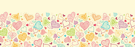 Doodle Hearts Horizontal Seamless Pattern Stock Photos