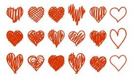 Doodle hearts isolated on white bakground set stock illustration