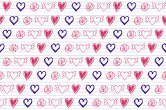 Doodle hearts on Lined Sketchbook Paper Background Stock Photography