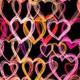 Doodle hearts seamless background. Retro holiday backdrop for Valentine Day royalty free stock images
