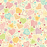 Doodle Hearts Seamless Pattern Background Stock Image