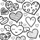 Doodle hearts seamless pattern stock illustration
