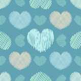 Doodle hearts seamless pattern Royalty Free Stock Images