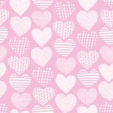 Hearts white on pink hand drawn seamless vector pattern. White heart shapes on pink background. Textured hearts backdrop. Hand stock illustration