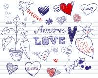 Doodle hearts set vector illustration