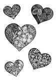 Doodle hearts Stock Photos