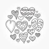 Doodle hearts set Royalty Free Stock Photos