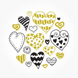 Doodle hearts set. Stock Images