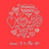Doodle hearts set. Royalty Free Stock Photos