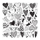 Doodle hearts set Stock Image
