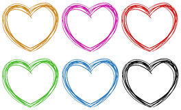 Doodle hearts in six colors. Illustration Royalty Free Stock Images