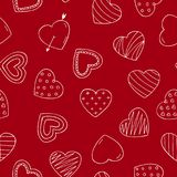 Doodle hearts - vector seamless pattern. Valentines day background.  Vector Illustration