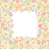 Doodle Hearts Vertical Frame Background Border Stock Image