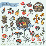 Doodle hedgehog,berries,mushrooms,wood,flowers Royalty Free Stock Image