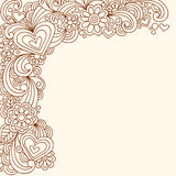 Doodle Henna Abstract Design Vector. Hand-drawn Doodle Henna Abstract Heart, Swirls and Flowers Vector Illustration Stock Photos