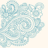 Doodle Henna Abstract Flowers and Swirls Vector Stock Photo