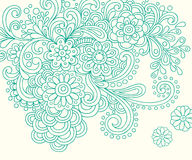 Doodle Henna Abstract Flowers Vector Royalty Free Stock Photo