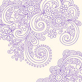 Doodle Henna Abstract Swirls Vector. Hand-drawn Doodle Henna Abstract Swirls and Flower Vector Illustration Royalty Free Stock Images