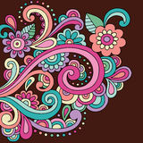 Doodle Henna Doodle Flowers and Swirls Vector Stock Images