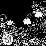 Doodle Henna Dove and Flowers Vector. Hand-drawn Henna Doodle Flower Garden with Rose, Dove, and Rainbow Vector Illustration Royalty Free Stock Images