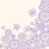 Doodle Henna Flowers Butterfly Vector. Hand-drawn Henna Doodle Flowers and Butterflies Vector Illustration Royalty Free Stock Photos