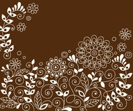 Doodle Henna Flowers Vector. Hand-drawn Henna Doodle Flower Garden and Vines Vector Illustration Stock Images