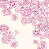 Doodle Henna Flowers Vector. Hand-drawn Henna Doodle Flower Garden Vector Illustration Royalty Free Stock Image