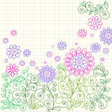 Doodle Henna Flowers and Vines Vector. Hand-drawn Colored Line Henna Doodle Flower Garden and Vines Vector Illustration Stock Photography
