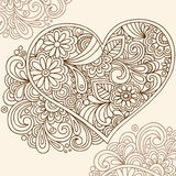 Doodle Henna Heart Vector. Hand-drawn Doodle Henna Heart Vector Illustration with Flowers and Swirls Royalty Free Stock Photography