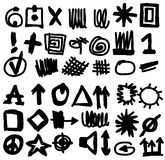 Doodle highlighter simplified symbols Royalty Free Stock Photo