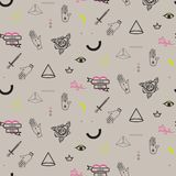 Doodle hipster flash tattoo style seamless beige vector pattern. royalty free illustration