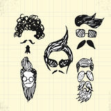 Doodle Hipster Hair Style on Paper Stock Image