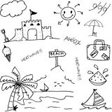 Doodle of holiday set in beach Royalty Free Stock Photo