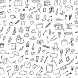 Doodle home related trendy seamless pattern. Stock Photography