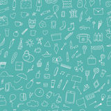Doodle home related trendy seamless pattern. Royalty Free Stock Photography