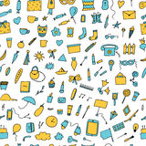 Doodle home related trendy seamless pattern. Stock Photo