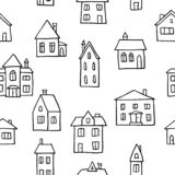 Doodle homes background stock images