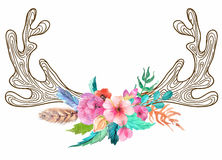 Doodle horns with watercolor flowers and feathers Royalty Free Stock Photography