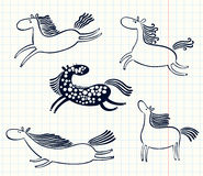 Doodle horses Royalty Free Stock Photo