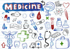 Doodle hospital icons Royalty Free Stock Photography